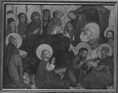 Tafel vom Hochaltar aus St. Mang in Füssen: Tod Mariens Rückseite: Kreuztragung Christi