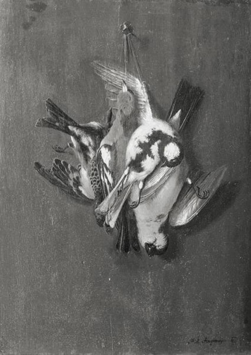 Stillleben mit drei toten Vögeln