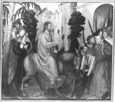 Erster Wettenhauser Altar: Einzug Christ in Jerusalem Rückseite: Dornenkrönung Christi
