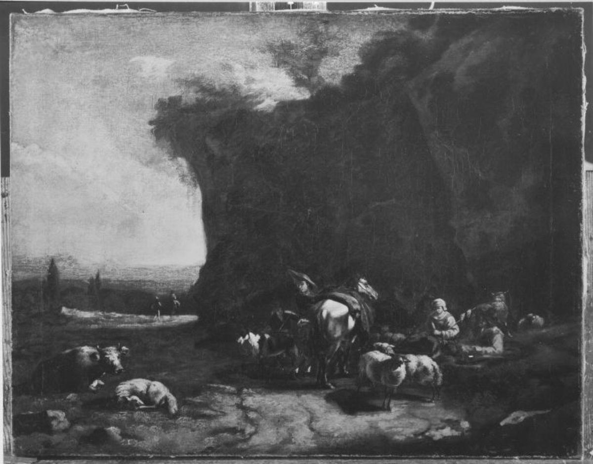 Italienische Landschaft mit Reiter und Hirten