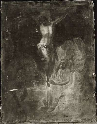 Christus am Kreuz mit drei Heiligen