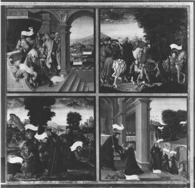 Magnuslegende: Vier Darstellungen aus der Legende des hl. Magnus (Tafel 1)