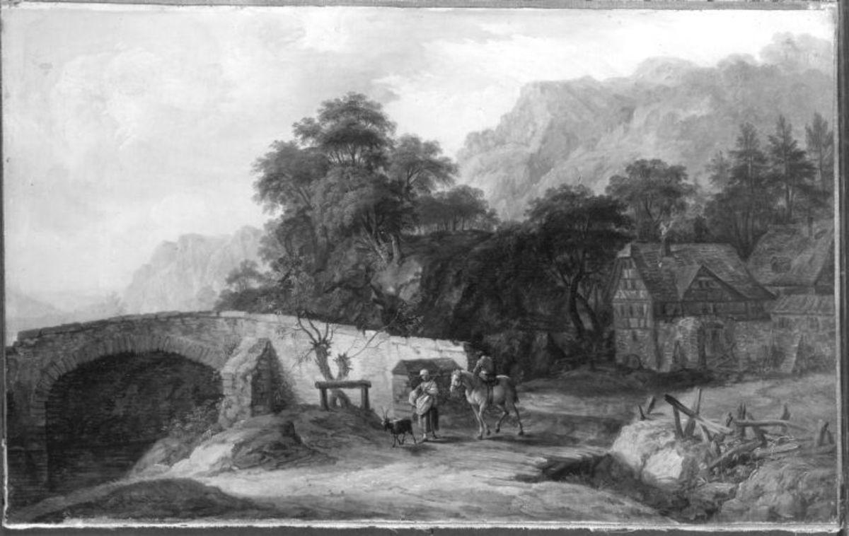 Gehöft und Steinbrücke vor einer Berglandschaft