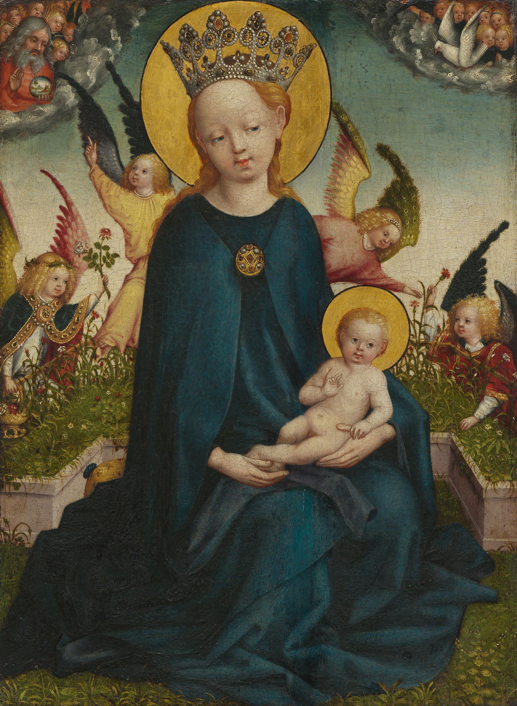 Maria mit dem Jesuskind vor der Rasenbank