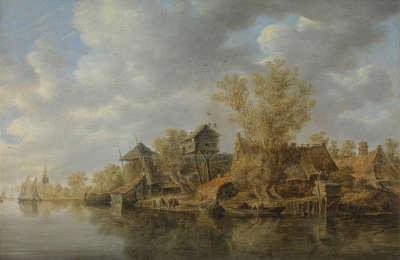 Bauerngehöfte am Fluss