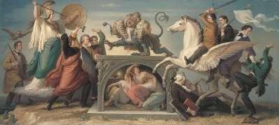 Die Bekämpfung des Zopfes durch Künstler und Gelehrte unter dem Schutz der Minerva