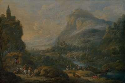 Flusslandschaft mit Ruine und Kirchdorf