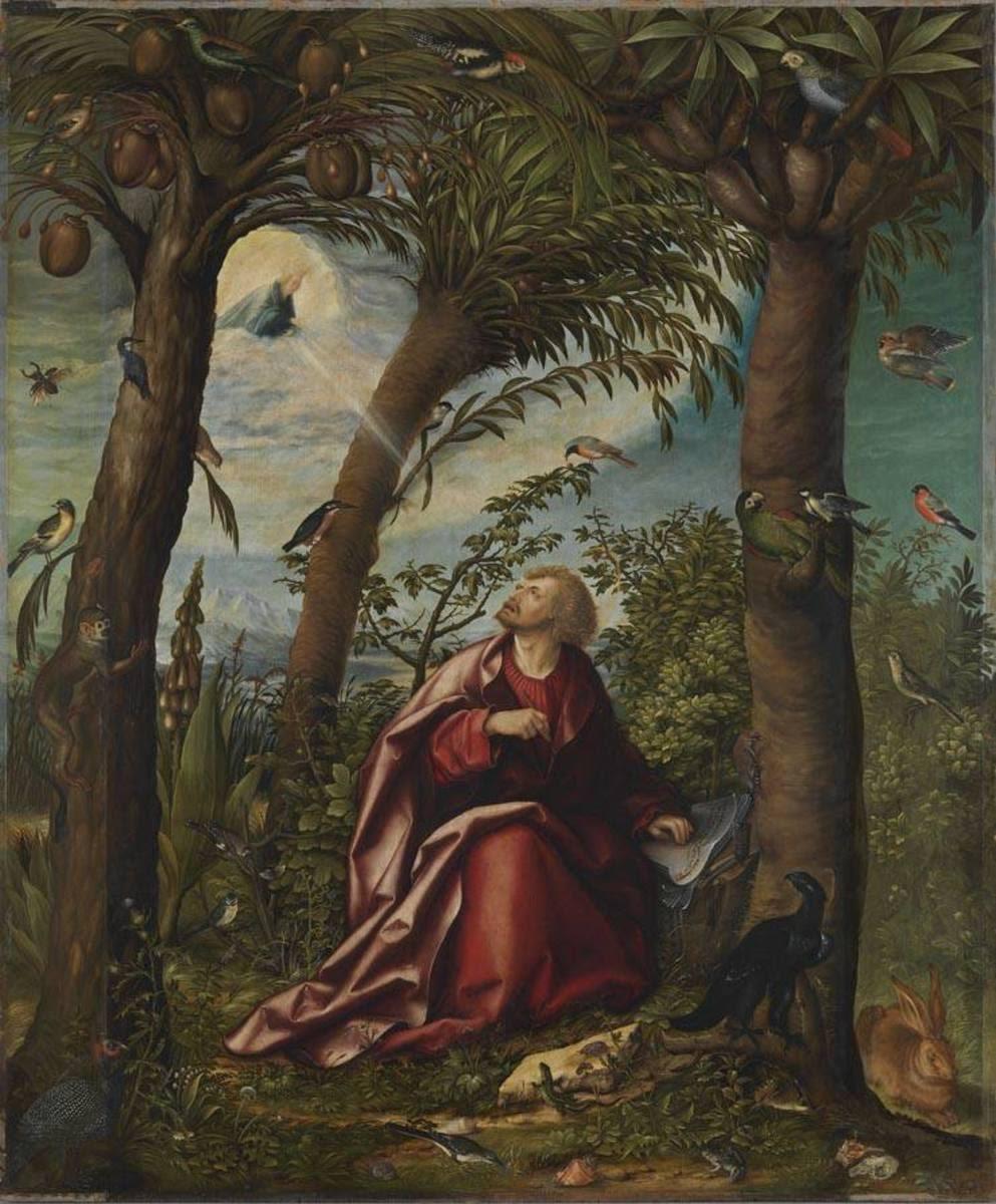 Johannesaltar: Johannes auf Patmos