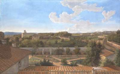 Blick von der Villa Malta in Rom nach Norden