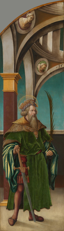 Kreuzigungsaltar, linke Flügelaußenseite: Hl. Sigismund