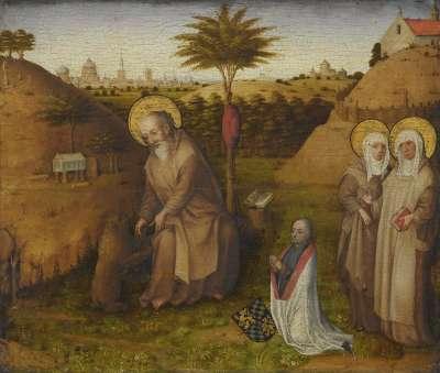 Der hl. Hieronymus mit den hll. Frauen Paula und Eustochium und einem Stifter