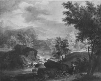 Landschaft mit Seestädtchen und Wasserfall