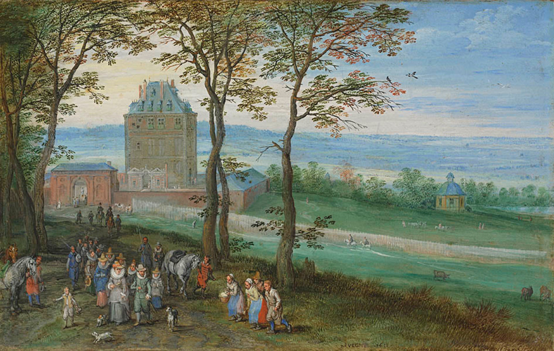 Erzherzog Albrecht und Isabella vor Schloss Mariemont