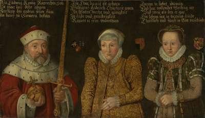 Bildnis des Kurfürsten Friedrich III. von der Pfalz (1515-1576) mit Gemahlinnen Maria von Brandenburg-Kulmbach und Amalia von Neuenar