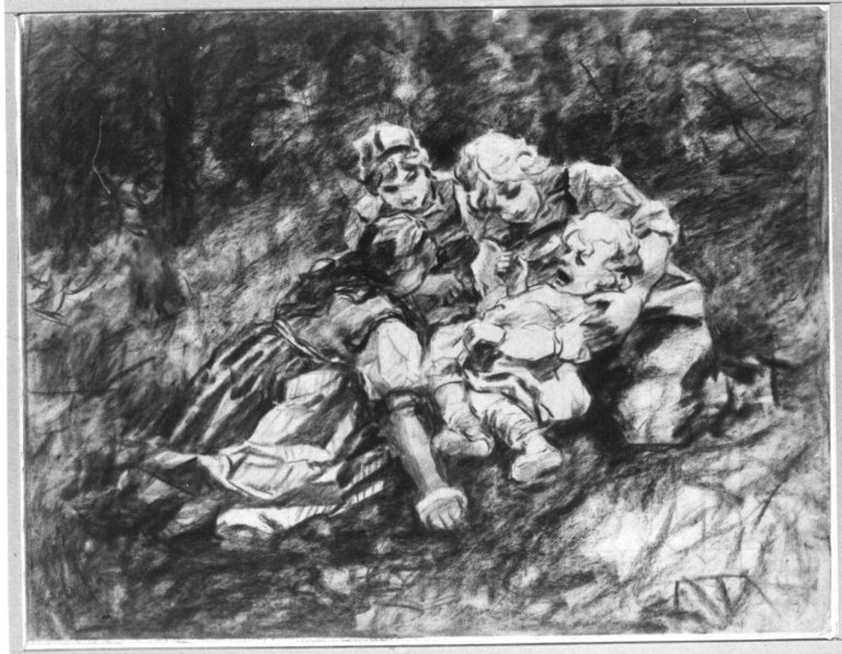 Drei Mädchen mit einem weinenden Kind