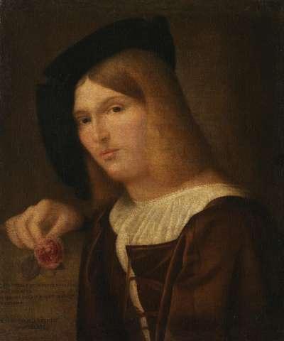 Bildnis eines jungen Mannes mit einer Rose in der Hand