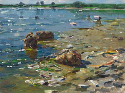 Seeufer in Dießen mit Steinen