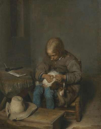 Ein Knabe floht seinen Hund
