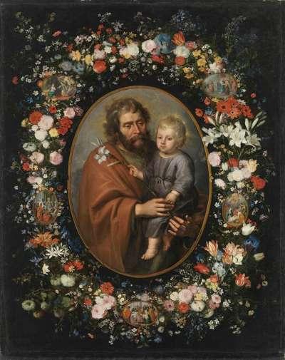 Blumenkranz mit hl. Joseph