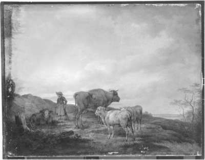 Landschaft mit Hirtenmädchen und Herde