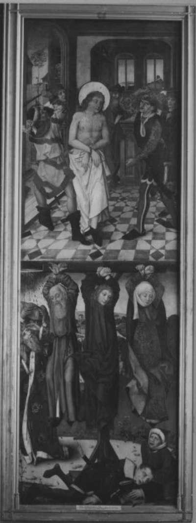 Veitsaltar: Geißelung des hl. Vitus, Folter der hll. Vitus, Modestus und Crescentia Rückseite: Hll. Georg und Sebald