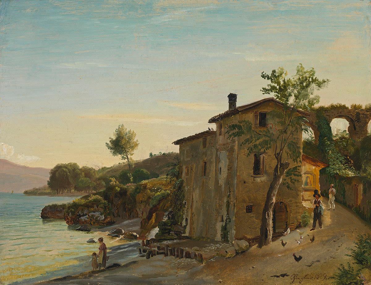 Oberitalienische Landschaft mit Häusern am See