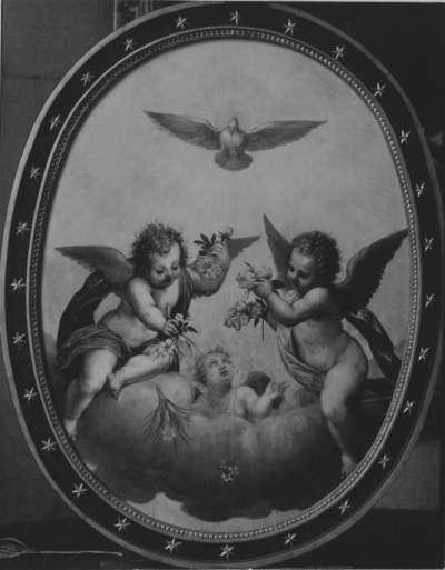 Die Taube des Heiligen Geistes mit blumenstreuenden Engeln