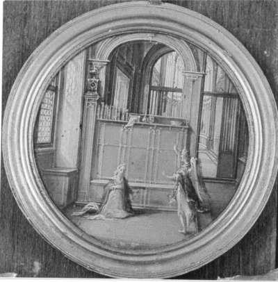 Kircheninneres mit der Verkündigung an Maria