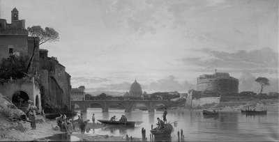 Blick auf den Tiber in Rom bei Abendstimmung