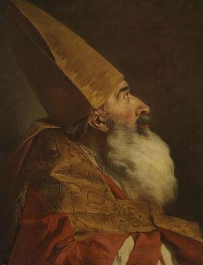 Ein Bischof mit Mitra und Pluviale, Studie für den heiligen Leonzio