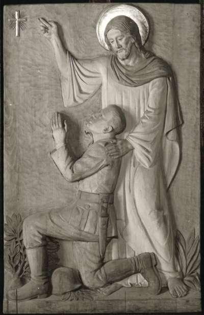 Christus und betender Soldat