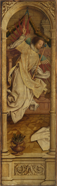 Sebastiansaltar, linker Flügel: Die hl. Barbara Rückseite: Engel der Verkündigung