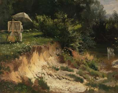 Adolf Lier beim Malen an der Kalter