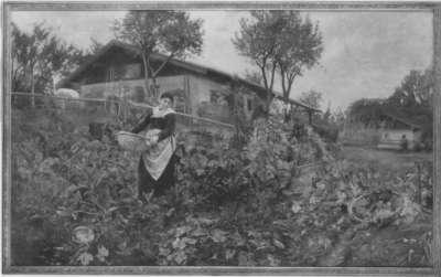 Bäuerin im Gemüsegarten