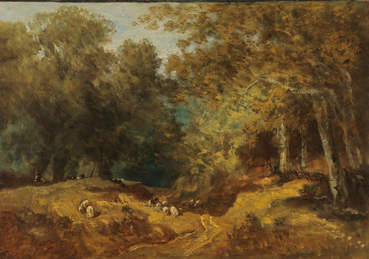 Waldlandschaft mit Schafherde und Hirten