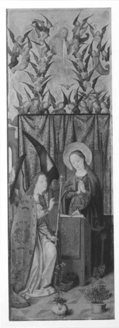 Sieben-Freuden-Altar: Verkündigung Rückseite: Christus vor Pilatus, Kreuzannagelung Christi (Teilstück)