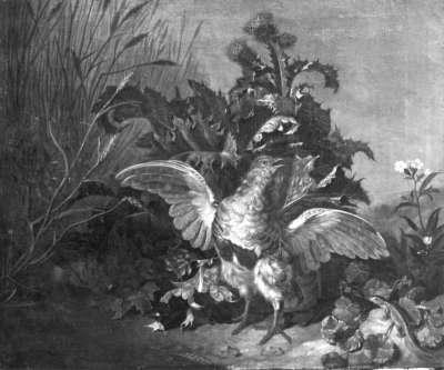 Jagdstück mit Rebhühnern