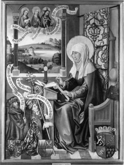 Hl. Birgitta, die Offenbarungen niederschreibend