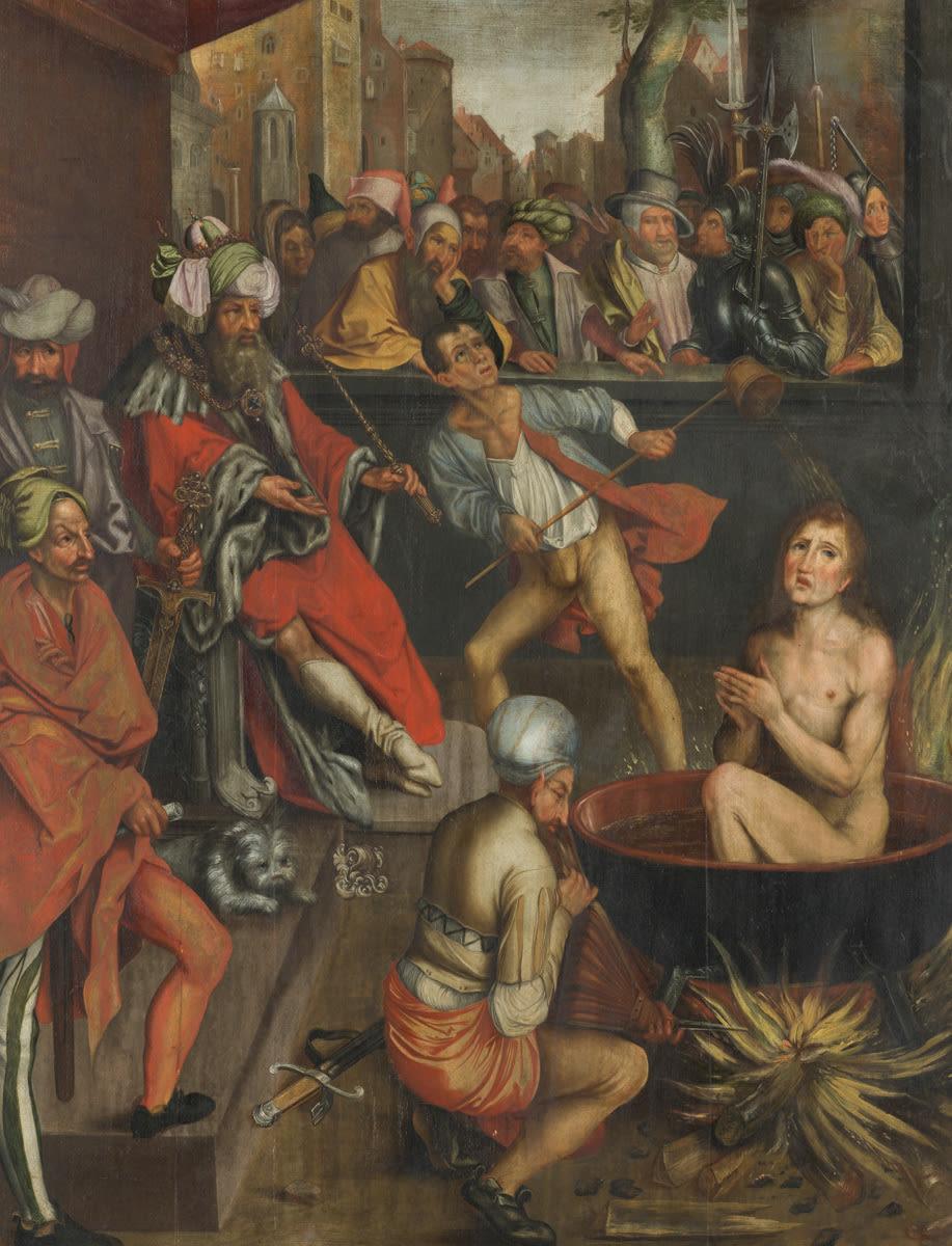 Martyrium des Evangelisten Johannes (nach Dürers Apokalypse-Holzschnitt B. 61)