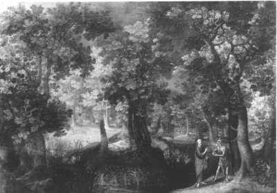 Waldlandschaft mit Versuchung Christi
