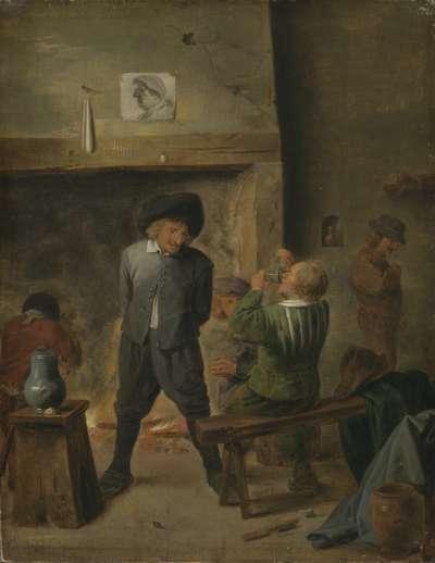 Bauern am Kaminfeuer
