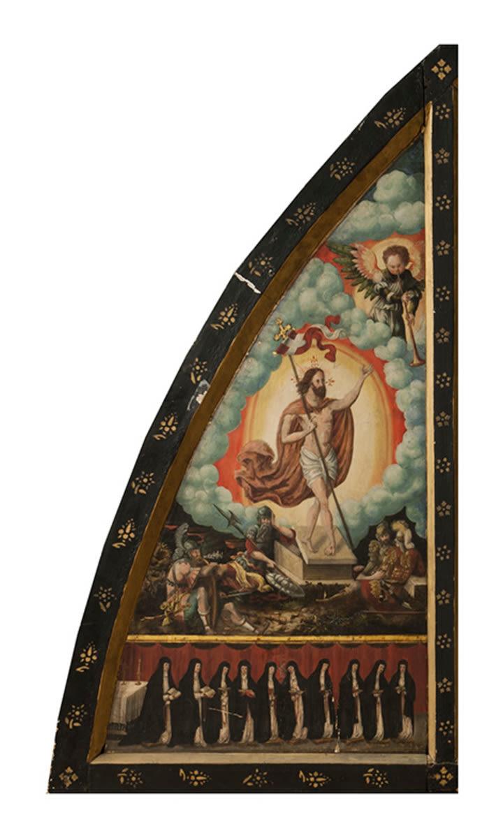 Sieben Schmerzen Mariens: Linke Tafel mit Auferstehung Christi