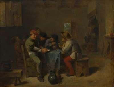 Kartenspielende Bauern in einer Schenke