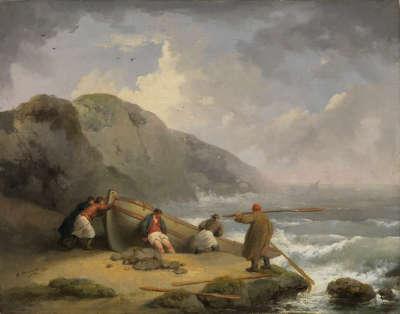 Fischer, eine Barke ins Wasser schiebend