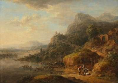 Flusslandschaft mit Hafenstädtchen