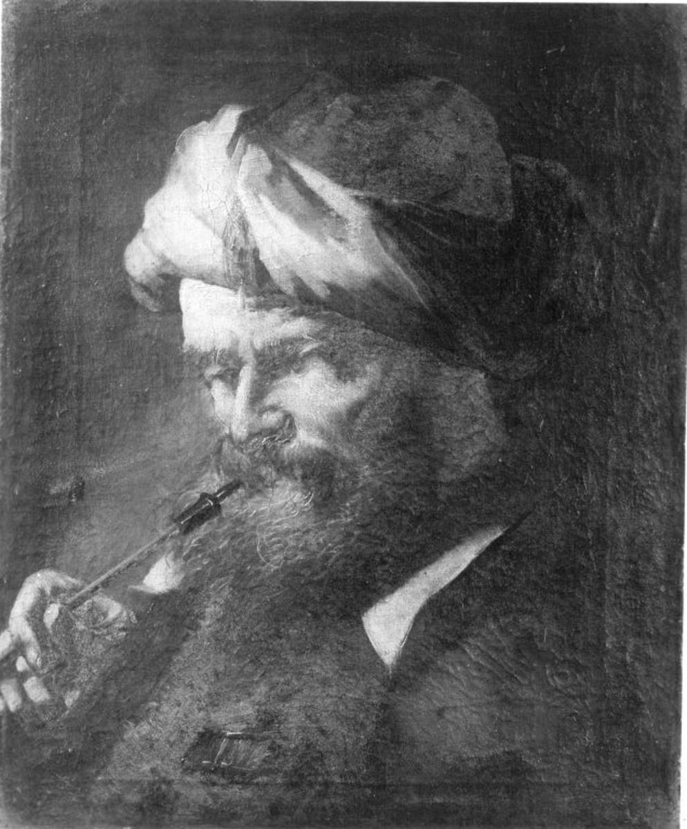 Bildnis eines rauchenden, bärtigen Mannes mit Turban