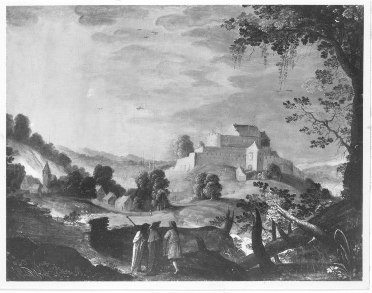Landschaft mit drei Pilgern