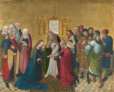 Marienleben: Vermählung Mariens Rückseite: obere Hälfte einer Krönung Mariens