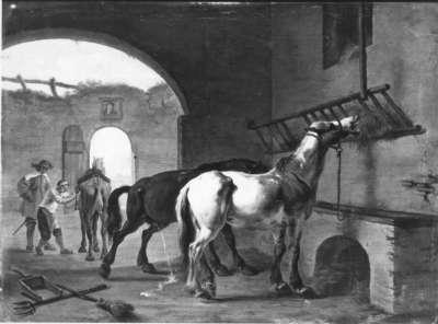 Zwei Pferde im Stall