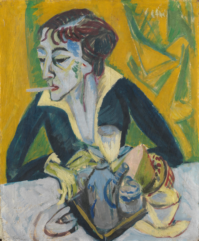 Erna mit Zigarette (Ernaporträt in Blau)